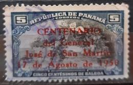 PANAMÁ 1950 The 100th Anniversary Of The Death Of San Martin - Overprinted. USADO - USED. - Panamá