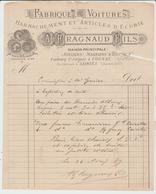 CHARENTE:  FABRIQUES DE VOITURES Fact. FRAGNAUD à  SAINTES De 1889, Filigrane, Traces D'insectes Xylophages B/TB - 1800 – 1899