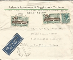 M) 1960, ITALY, AIR ,AIL, OLIMPIC GAMES, CIRCULATED COVER FROM ITALY TO USA. - Italy