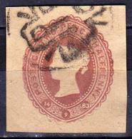 GRANDE-BRETAGNE - Great Britain - Reine Victoria Entier Postal En Relief Vers 1890 - 2 1/2 Pence Brun Violet Oblitéré - Entiers Postaux