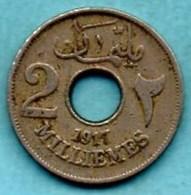 (r65)  EGYPT / EGYPTE  2 Milliemes  1335 / 1917 H  BRITISH OCCUPATION - Egypt