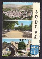 CPSM 34 - LODEVE - TB CP 3 Vues Dont Vue Générale , Esplanade , Pont Centre Village - Lodeve