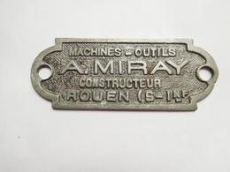 Plaque De Constructeur ( No Pin's ), Constructeur Machine Outils , A. Miray , Rouen , Matériel - Villes