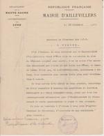 Lettre Du Maire D'Aillevillers (70) Au Directeur De PTT De Vesoul, 23/12/1937 - Documents Historiques