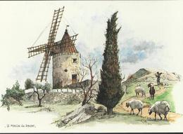 Le Moulin De Daudet Aquarelle Originale De Robert Lepine. - Pittura & Quadri