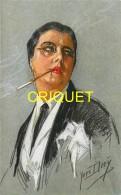 Illustrateur Diey, La Garçonne, Femme En Costume, Monocle Et Fume-cigarette - Ilustradores & Fotógrafos