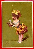 Paris, Maison A. Godchau, Chromo Lith. Testu & Massin, Anthropomorphisme, Fille, Fleur, Bouton D'or, Richesse - Trade Cards