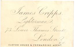 Visitekaartje - Carte Visite - James Cripps - Lighterman - London - Cartes De Visite