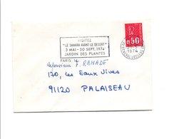 FLAMME LE SAHARA AVANT LE DESERT JARDIN DES PLANTES PARIS 1974 - Oblitérations Mécaniques (flammes)