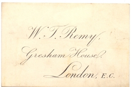 Visitekaartje - Carte Visite - W.J. Remy - Gresham House - London - Cartes De Visite