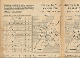 Cartes Et Horaires Des Trains Des Grandes Ville D'Europe Et De France Vers L'Auvergne, Clermont-Ferrand, Royat (1896) - Europe