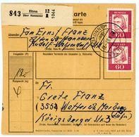 "Landpoststempel ""Ilten über Hannover"" Paketkarte 1962 - Lettres & Documents"