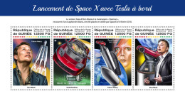 GUINEA REP. 2018 MNH** SpaceX With Tesla Space Raumfahrt Espace Cars Autos Voitures M/S - IMPERFORATED - DH1823 - Africa