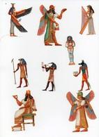 CHROMO Découpis Gaufrée Mythologie Egyptienne Egypte Dieux Déesses Anthropomorphisme Musique Harpe (9 Chromos) - Trade Cards