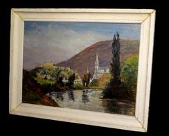 [HAUTES-PYRENEES] Huile Signée : Vue D'ensemble De La Basilique Notre-Dame De Lourdes. - Oils