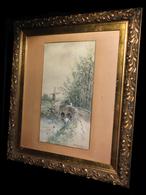[HALIEUTIQUE PECHE PECHEUR MOULIN] DUPONT (Claire) - [Aquarelle Signée]. 1895. - Watercolours