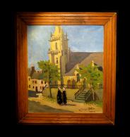 [NORMANDIE MANCHE CHERBOURG BRICQUEBEC] ROLLAND (Georges) - [Huile Sur Panneau] Eglise De Rocheville (Manche). - Oils