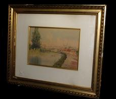 [PAYS De La LOIRE MAINE-et-LOIRE] Aquarelle Signée : Environs De Saumur. - Watercolours