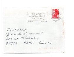 FLAMME FOIRE DE REDON ILLE ET VILAINE 1985 - Postmark Collection (Covers)