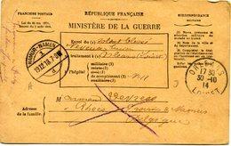 FRANCE CARTE FM BULLETIN DE SANTE D'UN MILITAIRE EN TRAITEMENT DEPART ORLEANS 30-10-14 LOIRET POUR LA BELGIQUE - Marcophilie (Lettres)