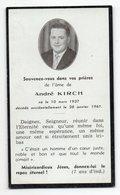 Petite Carte-Faire-Part De Décès 1961--André KIRCH--format  6.5 X 11 - Overlijden