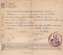Bon De Transport Par Le Chemin De Fer Pour Le Trajet D'Avord à Créches Sur Saône, 1953 - Cachet Bataillon De L'Air 1/702 - Documenten