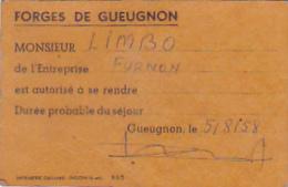 """Carton 65 X 100 Mm """"Laissez-Passer"""" Entreprise """"Furnon"""" Intervenant Aux """"Forges De Gueugnon (71) """" 1958 - Other Collections"""