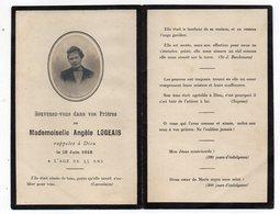 Petite Carte Double -Faire-Part De Décès 1918--Angèle LOGEAIS -format Plié  7.5 X 11,5 - Obituary Notices