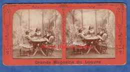 Photo Ancienne Stéréo Avant 1900 - Superbe Portrait Petite Fille Jouant Aux Dominos - Grands Magasins Du Louvre - Enfant - Stereoscopic