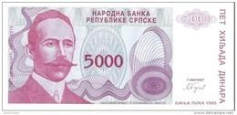 Bosnia And Herzegovina - Pick 149 - 5000 Dinara 1993 - Unc - Bosnia And Herzegovina