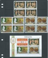 Cook Islands 1970 Royal Visit Set Of 3 In Blocks Of 4 MNH / MLH , + Miniature Sheet MLH - Cook Islands