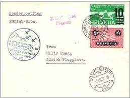 "Flugmeeting 1937 Zürich-Sion 1.VIII.37 ""Flugplatz""  Mit Zu F8z (geriffelt Grillé) +20 Mi 183z+286 Mit AK-o SION 2.VIII.3 - Poste Aérienne"