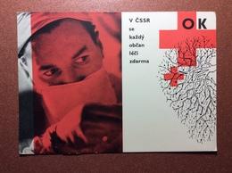Vintage Red Cross Medicine Postcard 1965 Chechoslovakia Propaganda V CSSR Se Kazdy Obcan Leci Zdarma QSL - Croce Rossa