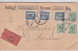 DANEMARK 1921 LETTRE EN VALEUR DECLAREE DE SLAGELSE - Brieven En Documenten