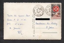 DF / SUR CARTE POSTALE TP 1062 ORDRE DE MALTE / OBL. VESOUL ENTREPOT 26 -6 1956 HAUTE-SAONE - Cartas