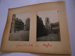 Lot De 4 Photographies Originales Circa 1900 Gand Beffroi Mairie Rabot Ruines Photo Photographie FAOUE - Lieux