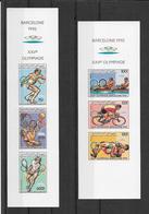 Comores Série Complète 2 Feuillets De 3 Timbres Non Dentelé/imperf/ND JO 92 ** - Summer 1992: Barcelona