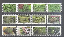 France Autoadhésifs Oblitérés N°739 à 750 (série Complète : Flore Légumes) (lignes Ondulées) - Adhésifs (autocollants)