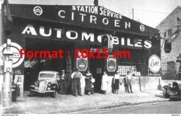 Reproduction D'une Photographie Ancienne D'une Station Service Citroen Automobiles - Reproductions