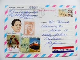 Cover Kuba 1987 Postal Stationery Volleyball Railway Locomotive Animal - Cuba