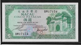 Macao - 5 Patacas - Pick N°58c - NEUF - Macau