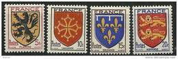 "FR YT 602 à 605 "" Armoiries De Provinces (II) "" 1944 Neuf** - 1941-66 Armoiries Et Blasons"