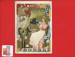 Paris Grand Magasin Réaumur Gobert Martin Jolie Chromo Modiste Chapeau Art Nouveau Vos Plumes PAON - Trade Cards