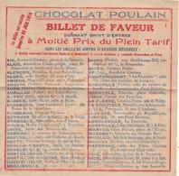 BILLET De  FAVEUR A MOITIE  PRIX OFFERT Par CHOCOLAT  POULAIN,,,,,VALABLE JUSQU' AU 31  JUILLET  1914,,,, - Tickets - Entradas