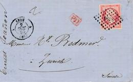 Devant Du 22 Octobre 1859 Pour La Suisse Avec 80 C Carmin TB. - 1853-1860 Napoléon III