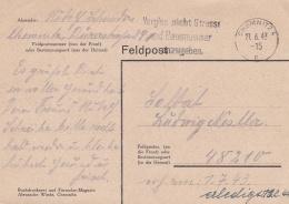Feldpost WW2: Feldpost Postcard To Bretagne In France - Generalkommando LXXXVII. AK. FP 48210 P/m Chemnitz 27.6.1943 (G9 - Militaria