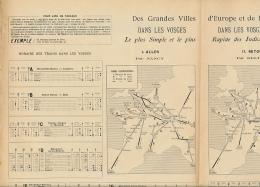 Cartes Et Horaires Des Trains Des Grandes Ville D'Europe Et De France Dans Les Vosges, Nancy, Bussang, Gérardmer (1896) - Europe
