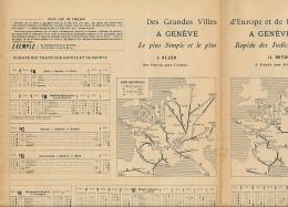 Cartes Et Horaires Des Trains Des Grandes Ville D'Europe Et De France Vers Genève, Interlaken, Chamonix, Fribourg (1896) - Europe