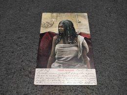 ANTIQUE POSTCARD EGYPT TRIBAL WOMAN FEMME BICHARINE CIRCULATED NO STAMP 1909 - Egypte