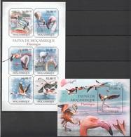 F295 2011 MOCAMBIQUE FAUNA DE MOCAMBIQUE BIRDS FLAMINGOS 1KB+1BL MNH - Flamingo